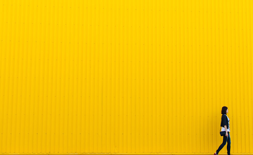 Girl yellow brick road